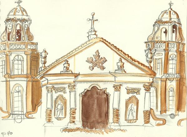 San Sebastian Church Drawing Sketch on The Spot